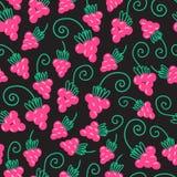 Raspberry fruit nature pattern. Seamless pink raspberry pattern background. Vector nature illustration Stock Photo