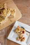 Raspberry Fruit and Oatmeal Bars Royalty Free Stock Photography