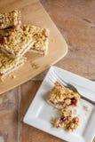 Raspberry Fruit and Oatmeal Bars. Homemade raspberry fruit and oatmeal bars Royalty Free Stock Photography