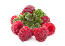 Raspberry fruit on white Royalty Free Stock Images