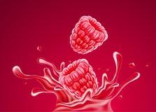 Raspberry fruits falling into juice splash. Vector illustration. vector illustration