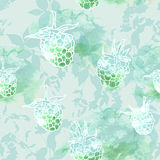 Raspberry on green background, seamless pattern. Vector Royalty Free Stock Images
