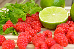 Raspberry, green lemon and mint Stock Images