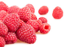 Raspberry heap scattered. On white background Stock Image