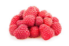 Raspberry heap. On white background Stock Photos