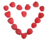 Raspberry heart 2. Raspberries forming a heart Stock Images
