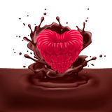 Raspberry heart with chocolate Stock Photo