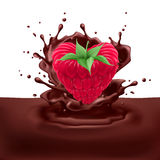 Raspberry heart with chocolate Stock Images