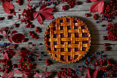 Raspberry homemade pie tart cake with fresh raspberries and jam. Top view. Autumn mood Royalty Free Stock Photography