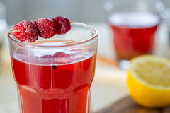 Raspberry Hot Tea with Cinnamon, Coriander, Lemon and Honey, Delicious and Healthy Stock Images