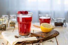 Raspberry Hot Tea with Cinnamon, Coriander, Lemon and Honey, Delicious and Healthy Stock Image