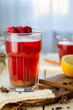 Raspberry Hot Tea with Cinnamon, Coriander, Lemon and Honey, Delicious and Healthy Royalty Free Stock Photos