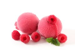 Raspberry ice cream. Ball on white background Stock Images