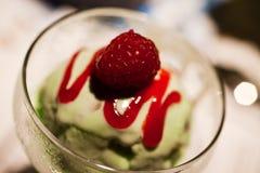 Raspberry with ice cream dessert. Raspberry with mint ice cream dessert Stock Image