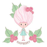 Raspberry ice cream girl character. Vector illustration of cartoon girl with ice cream instead of the hairstyle, isolated on white background Royalty Free Stock Images