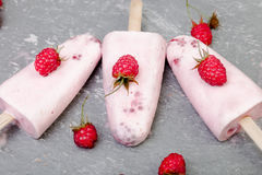 Raspberry ice cream on grey background. Three popsicles. Top view. Homemade. Stock Photography