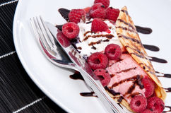 Raspberry Ice Cream in a Pan Cake Royalty Free Stock Images
