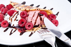 Raspberry Ice Cream in a Pan Cake Stock Photography