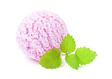 Raspberry ice cream scoop Stock Images