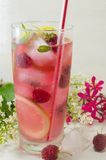 Raspberry ice tea with lemon raspberry and ice cubes on a table. Homemade raspberry ice tea with lemon raspberry and ice cubes on a table decorated with flowers Royalty Free Stock Photography