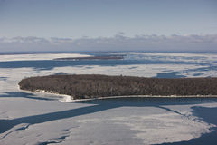 Raspberry Island in winter. Aerial view of raspberry island in winter looking west with york island and sand island in the distance Stock Image