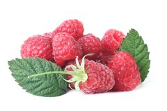 Raspberry isolated white. Ripe raspberries with green leafs isolated on white background Royalty Free Stock Photo