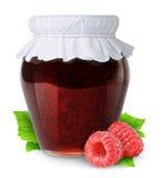 Isolated raspberry jam. Isolated fruit jam. Closed glass jar of raspberry jam isolated on white background Stock Images