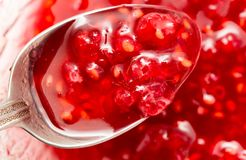 Raspberry jam as background. Photos in the studio Stock Images