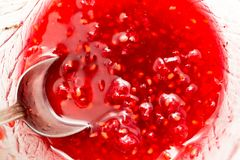 Raspberry jam as background. Photos in the studio Stock Photography