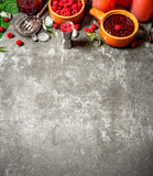 Raspberry jam with berries and ice. On the stone table Stock Photo