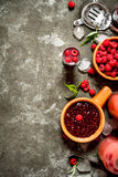 Raspberry jam with berries and ice. Royalty Free Stock Photos