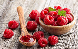 Raspberry jam with berry Stock Photography