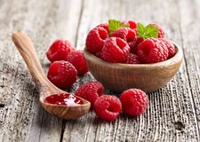 Raspberry jam with berry Stock Image