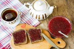 Raspberry jam and blak bread Royalty Free Stock Image