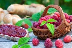 Raspberry jam with bread Stock Image