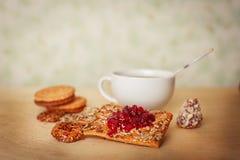 Raspberry jam and cookies Stock Photo