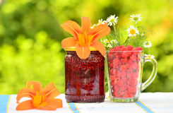 Raspberry jam and fresh berries Royalty Free Stock Photo