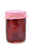 Raspberry jam. Fresh home made raspberry jam  with room for your text, vertical composition Stock Photos