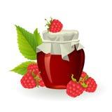 Raspberry jam with fresh raspberries Stock Images