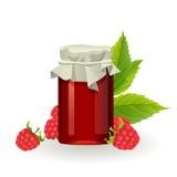 Raspberry jam with fresh raspberries Stock Photo