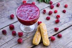 Raspberry jam and fresh raspberry Royalty Free Stock Photo