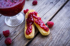 Raspberry jam and fresh raspberry Stock Images