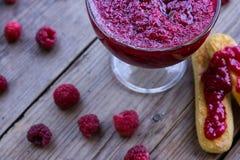Raspberry jam and fresh raspberry Stock Photos