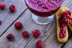 Raspberry jam and fresh raspberry Royalty Free Stock Photography