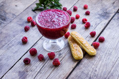 Raspberry jam and fresh raspberry Royalty Free Stock Images