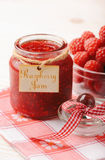 Raspberry jam in glass jar and raspberries. On white background Royalty Free Stock Photo