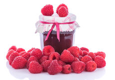 Raspberry jam jar with fresh raspberries Stock Photo