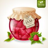 Raspberry jam jar Stock Image