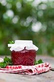 Raspberry jam in a jar Stock Photos