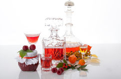 Raspberry jam and liqueur Royalty Free Stock Images